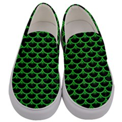 Scales3 Black Marble & Green Colored Pencil Men s Canvas Slip Ons