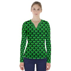 Scales3 Black Marble & Green Colored Pencil (r) V Neck Long Sleeve Top
