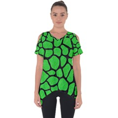 Skin1 Black Marble & Green Colored Pencil Cut Out Side Drop Tee