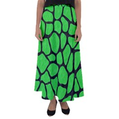 Skin1 Black Marble & Green Colored Pencil Flared Maxi Skirt
