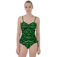 Skin2 Black Marble & Green Colored Pencil Sweetheart Tankini Set
