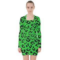 Skin5 Black Marble & Green Colored Pencil V Neck Bodycon Long Sleeve Dress
