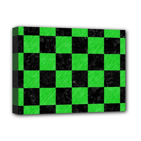 Square1 Black Marble & Green Colored Pencil Deluxe Canvas 16  X 12   by trendistuff