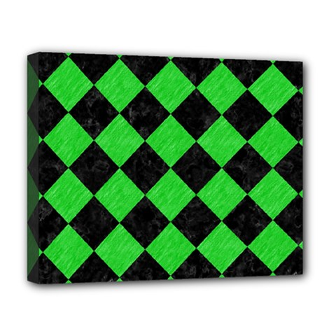 Square2 Black Marble & Green Colored Pencil Deluxe Canvas 20  X 16   by trendistuff