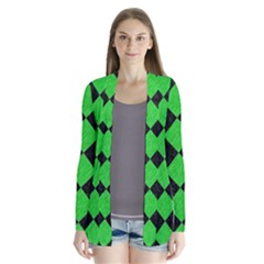 Square2 Black Marble & Green Colored Pencil Drape Collar Cardigan by trendistuff