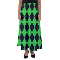 Square2 Black Marble & Green Colored Pencil Flared Maxi Skirt