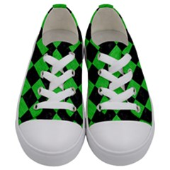 Square2 Black Marble & Green Colored Pencil Kids  Low Top Canvas Sneakers