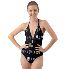 I Am Watching You Halter Cut Out One Piece Swimsuit