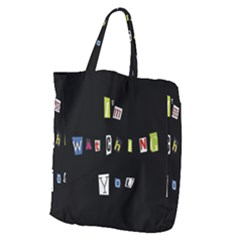 I Am Watching You Giant Grocery Zipper Tote by Valentinaart