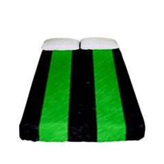 Stripes1 Black Marble & Green Colored Pencil Fitted Sheet (full/ Double Size) by trendistuff