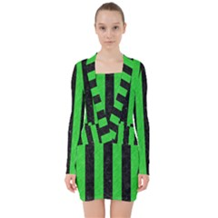 Stripes1 Black Marble & Green Colored Pencil V Neck Bodycon Long Sleeve Dress