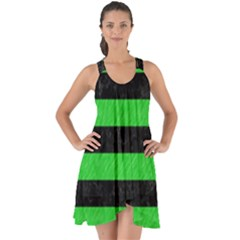 Stripes2 Black Marble & Green Colored Pencil Show Some Back Chiffon Dress by trendistuff