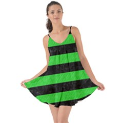 Stripes2 Black Marble & Green Colored Pencil Love The Sun Cover Up
