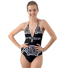 Darwin Fish Halter Cut Out One Piece Swimsuit