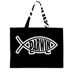 Darwin Fish Zipper Large Tote Bag by Valentinaart