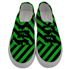 Stripes3 Black Marble & Green Colored Pencil Men s Classic Low Top Sneakers