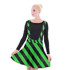 Stripes3 Black Marble & Green Colored Pencil (r) Suspender Skater Skirt