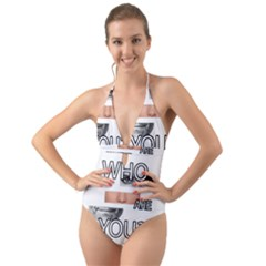 Who Are You Halter Cut Out One Piece Swimsuit