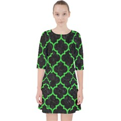 Tile1 Black Marble & Green Colored Pencil Pocket Dress