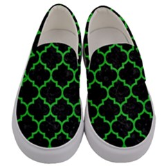 Tile1 Black Marble & Green Colored Pencil Men s Canvas Slip Ons