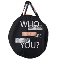 Who Are You Giant Round Zipper Tote