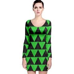 Triangle2 Black Marble & Green Colored Pencil Long Sleeve Velvet Bodycon Dress