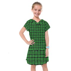 Woven1 Black Marble & Green Colored Pencil Kids  Drop Waist Dress by trendistuff