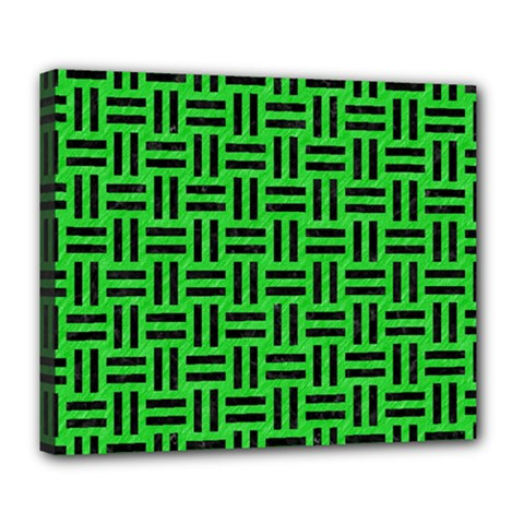 Woven1 Black Marble & Green Colored Pencil (r) Deluxe Canvas 24  X 20   by trendistuff