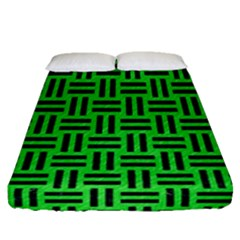 Woven1 Black Marble & Green Colored Pencil (r) Fitted Sheet (queen Size) by trendistuff