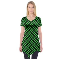 Woven2 Black Marble & Green Colored Pencil Short Sleeve Tunic