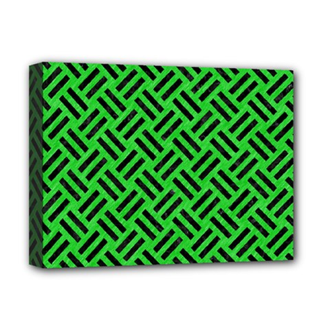 Woven2 Black Marble & Green Colored Pencil (r) Deluxe Canvas 16  X 12   by trendistuff