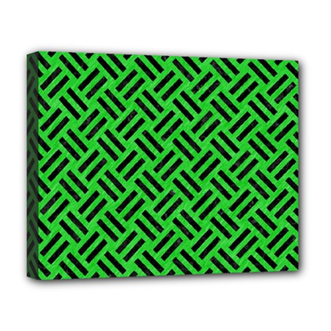 Woven2 Black Marble & Green Colored Pencil (r) Deluxe Canvas 20  X 16   by trendistuff