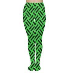 Woven2 Black Marble & Green Colored Pencil (r) Women s Tights by trendistuff