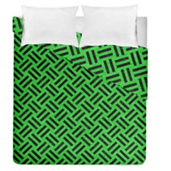 Woven2 Black Marble & Green Colored Pencil (r) Duvet Cover Double Side (queen Size) by trendistuff