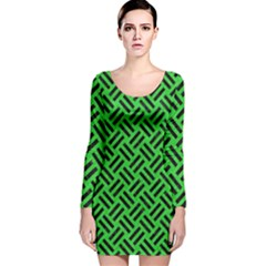 Woven2 Black Marble & Green Colored Pencil (r) Long Sleeve Velvet Bodycon Dress