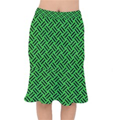 Woven2 Black Marble & Green Colored Pencil (r) Mermaid Skirt