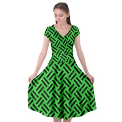 Woven2 Black Marble & Green Colored Pencil (r) Cap Sleeve Wrap Front Dress by trendistuff