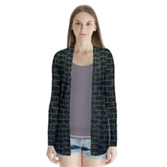 Brick1 Black Marble & Green Leather Drape Collar Cardigan by trendistuff