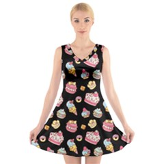 Sweet Pattern V Neck Sleeveless Skater Dress