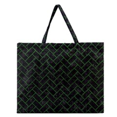 Brick2 Black Marble & Green Leather Zipper Large Tote Bag by trendistuff