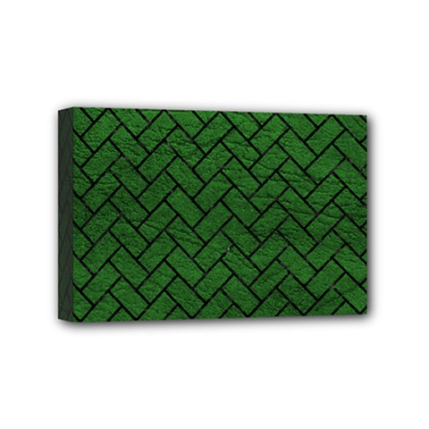 Brick2 Black Marble & Green Leather (r) Mini Canvas 6  X 4