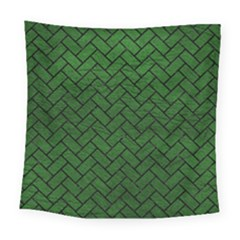 Brick2 Black Marble & Green Leather (r) Square Tapestry (large) by trendistuff