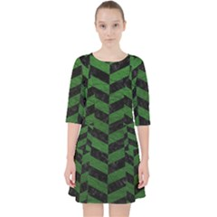 Chevron1 Black Marble & Green Leather Pocket Dress
