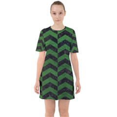 Chevron2 Black Marble & Green Leather Sixties Short Sleeve Mini Dress