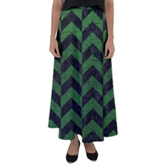 Chevron2 Black Marble & Green Leather Flared Maxi Skirt