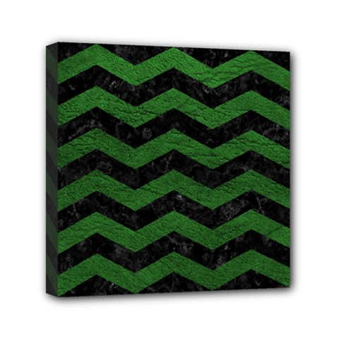 CHEVRON3 BLACK MARBLE & GREEN LEATHER Mini Canvas 6  x 6