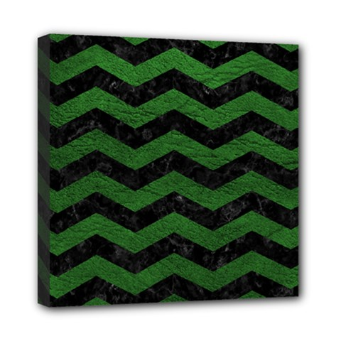 CHEVRON3 BLACK MARBLE & GREEN LEATHER Mini Canvas 8  x 8