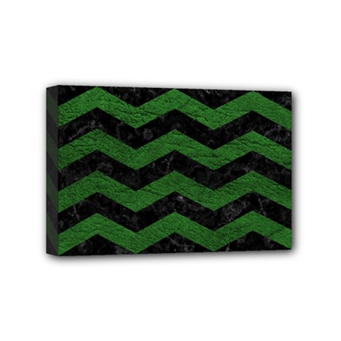 CHEVRON3 BLACK MARBLE & GREEN LEATHER Mini Canvas 6  x 4