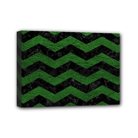 CHEVRON3 BLACK MARBLE & GREEN LEATHER Mini Canvas 7  x 5