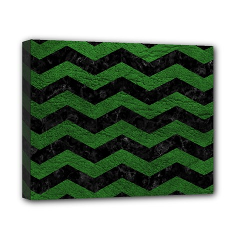 CHEVRON3 BLACK MARBLE & GREEN LEATHER Canvas 10  x 8